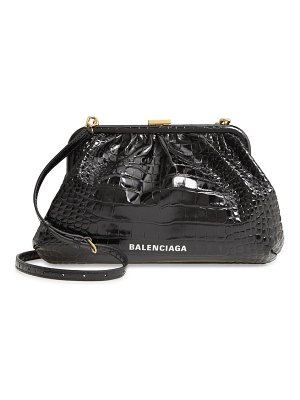 Balenciaga cloud croc embossed leather crossbody bag