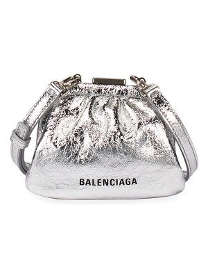 Balenciaga Cloud Mini Metallic Coin Purse with Strap