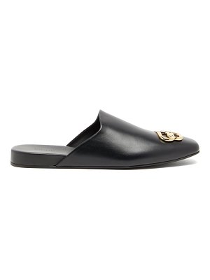 Balenciaga cosy bb-plaque leather backless loafers