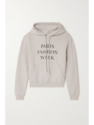 Balenciaga cropped printed cotton-jersey hoodie