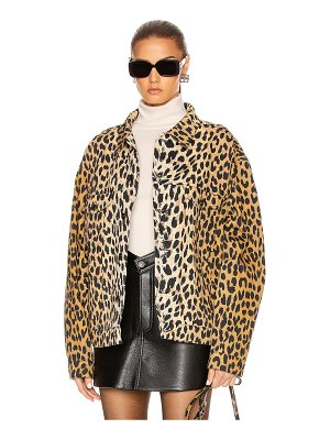Balenciaga denim leopard jacket