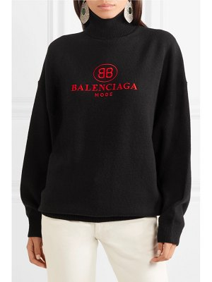 Balenciaga embroidered wool and cashmere-blend turtleneck sweater