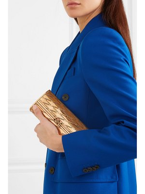 Balenciaga engraved gold-tone brass clutch