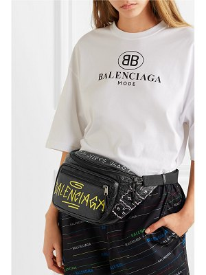 Balenciaga explorer graffiti printed textured-leather belt bag
