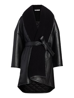Balenciaga faux leather & faux shearling wrap coat