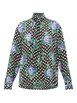 Balenciaga floral and polka dot print silk blouse