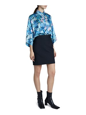 Balenciaga Floral Satin Wide-Sleeve Shirt