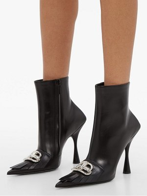 Balenciaga fringed point toe leather ankle boots