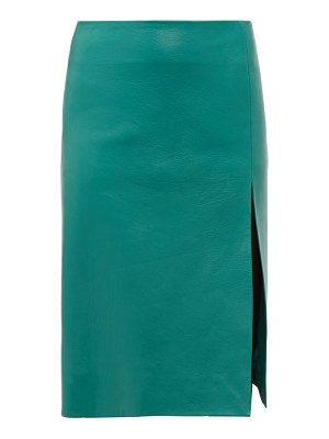 Balenciaga front split leather midi skirt