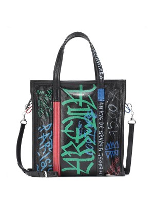 Balenciaga Graffiti Bazar XS leather shopper