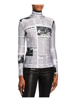 Balenciaga Happy News Printed High-Neck Top
