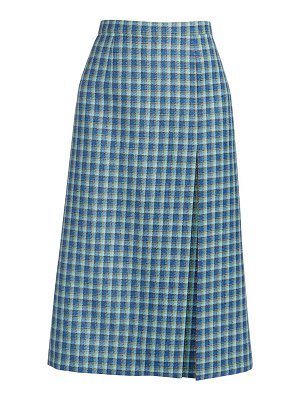 Balenciaga high slit plaid pencil skirt