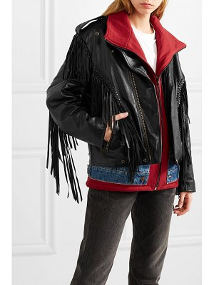 Balenciaga layered fringed leather, denim and jersey biker jacket
