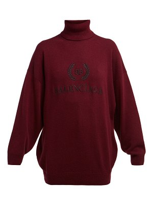 Balenciaga logo embroidered roll neck wool blend sweater