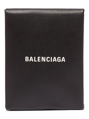 Balenciaga logo print leather clutch