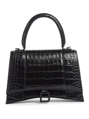 Balenciaga medium hourglass croc embossed calfskin top handle bag