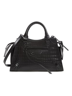 Balenciaga neo classic city croc embossed leather top handle bag