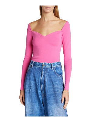 Balenciaga Off-the-Shoulder Knit Evening Top