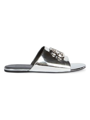 Balenciaga oval bb metallic leather sandals