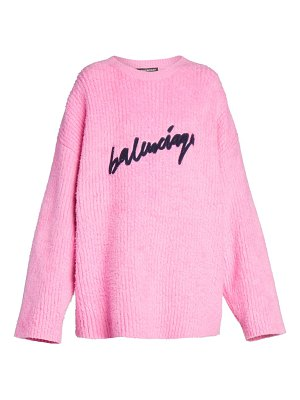 Balenciaga oversized logo knit crewneck sweater
