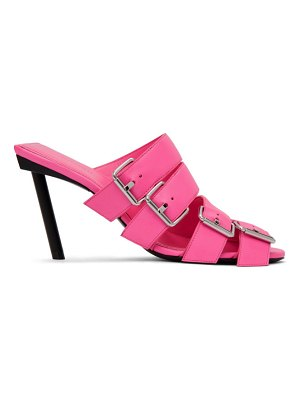 Balenciaga pink buckle heeled sandals