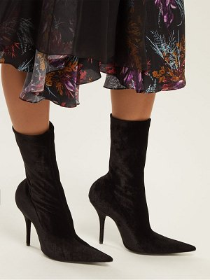 Balenciaga point toe velvet sock ankle boots