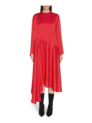 Balenciaga polka dot asymmetrical long sleeve midi dress