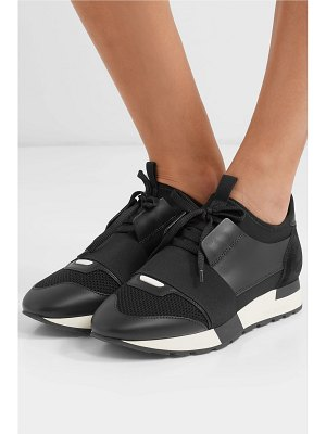Balenciaga race runner stretch-knit, mesh, suede and leather sneakers