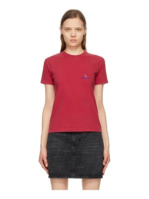 Balenciaga red embroidered logo small fit t-shirt