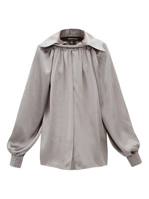 Balenciaga ring collared silk satin blouse