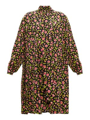 Balenciaga rose print silk crepe dress