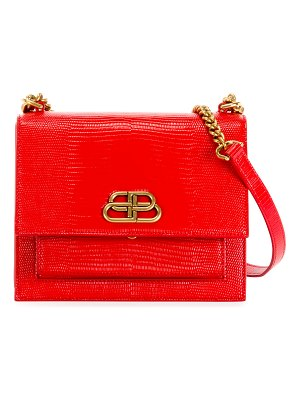 Balenciaga Sharp Small Lizard-Embossed Shoulder Bag
