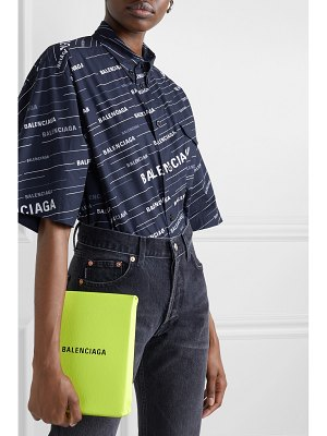 Balenciaga shopping envelope printed textured-leather clutch