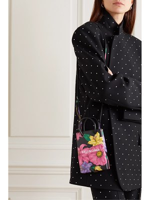Balenciaga shopping mini floral-print textured-leather shoulder bag