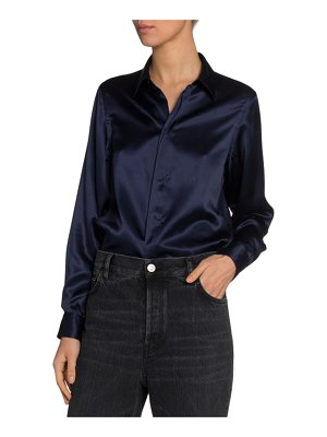 Balenciaga Silk Satin Button-Front Shirt