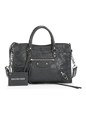 Balenciaga small city logo leather satchel