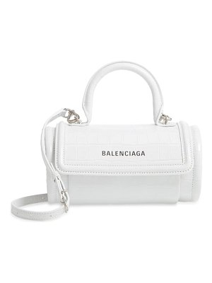Balenciaga small round top handle croc embossed leather bag