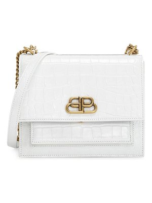 Balenciaga small sharp croc-embossed leather shoulder bag