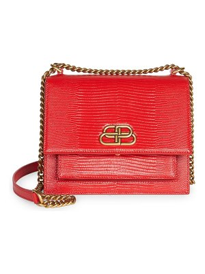 Balenciaga small sharp lizard-embossed leather shoulder bag