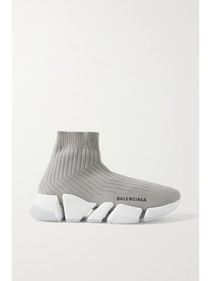 Balenciaga speed 2.0 ribbed stretch-knit high-top sneakers