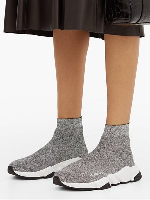 Balenciaga speed high top lamé sock trainers