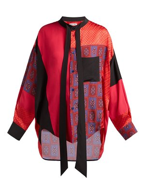 Balenciaga swing patchwork print panel silk blouse