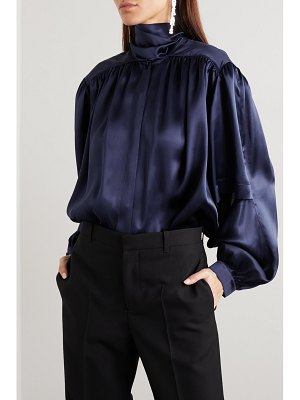 Balenciaga tie-neck layered silk-satin blouse
