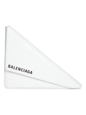 Balenciaga triangle croc-embossed leather clutch