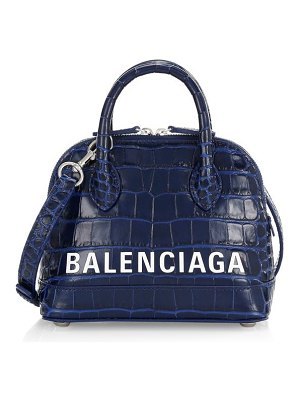 Balenciaga ville crocodile-embossed leather logo satchel
