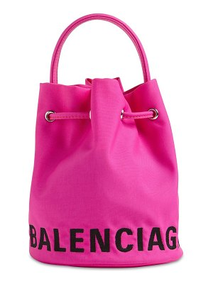 Balenciaga Xs wheel logo print nylon bucket bag