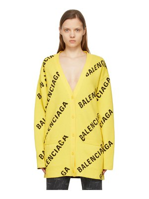 Balenciaga yellow allover logo cardigan