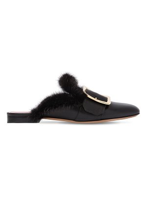 Bally 10mm janesse mink & leather mules