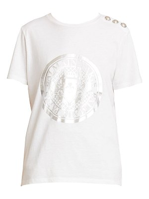Balmain 3-button metallic crest graphic t-shirt