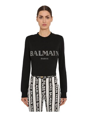 Balmain 3d logo cotton jersey crop sweater